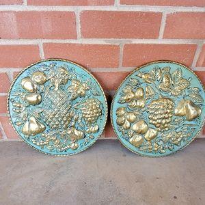 Vintage Elpec England painted brass deco plates